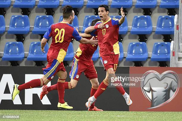 Andorra's forward Aaron Sanchez celebrates after scoring a goal during the group D Euro Cup 2016 qualifying football match between Andorra and Cyprus...