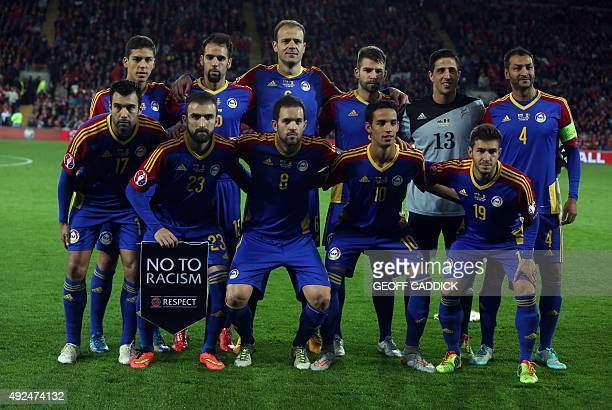 Andorra's forward Victor Moreira poses with team mates ahead of the Euro 2016 qualifying football match between Wales and Andorra at Cardiff City...