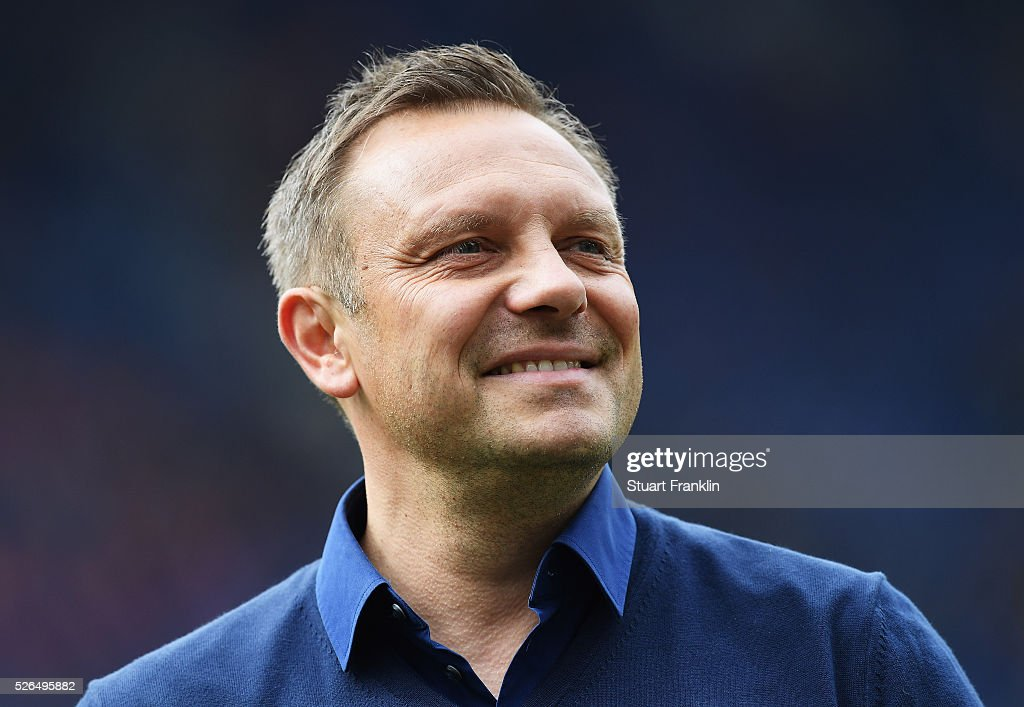 Andr�� Breitenreiter, head coach of Schalke looks on during the Bundesliga match between Hannover 96 and FC Schalke 04 at the HDI Arena on April 30, 2016 in Hanover, Lower Saxony.