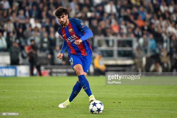 Andr Gomes of FC Barcelona during the UEFA Champions League quarter final match between Juventus and Barcelona at the Juventus Stadium Turin Italy on...