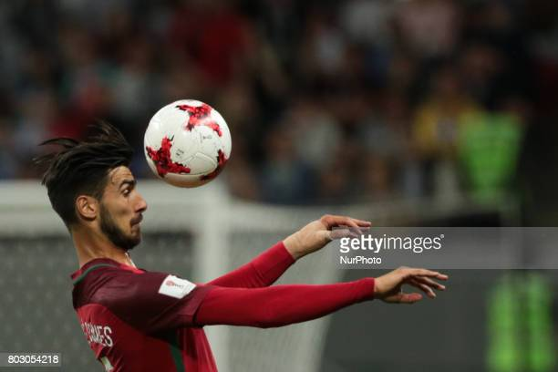 André Gomes of the Portugal national football team vie for the ball during the 2017 FIFA Confederations Cup match semifinals between Portugal and...