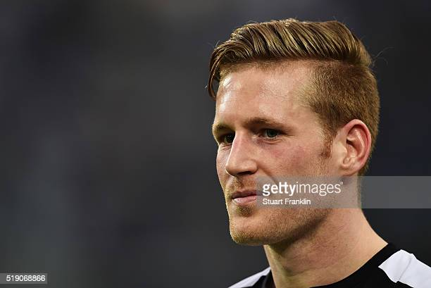 André Hahn of Gladbach looks on during the Bundesliga match between Borussia Moenchengladbach and Hertha BSC at BorussiaPark on April 3 2016 in...