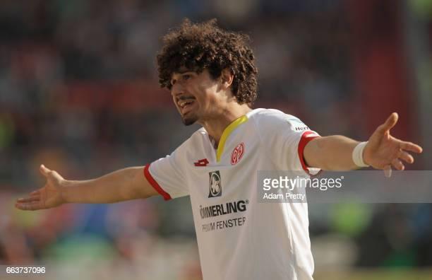 André Ramalho of Mainz reacts during the Bundesliga match between FC Ingolstadt 04 and 1 FSV Mainz 05 at Audi Sportpark on April 2 2017 in Ingolstadt...