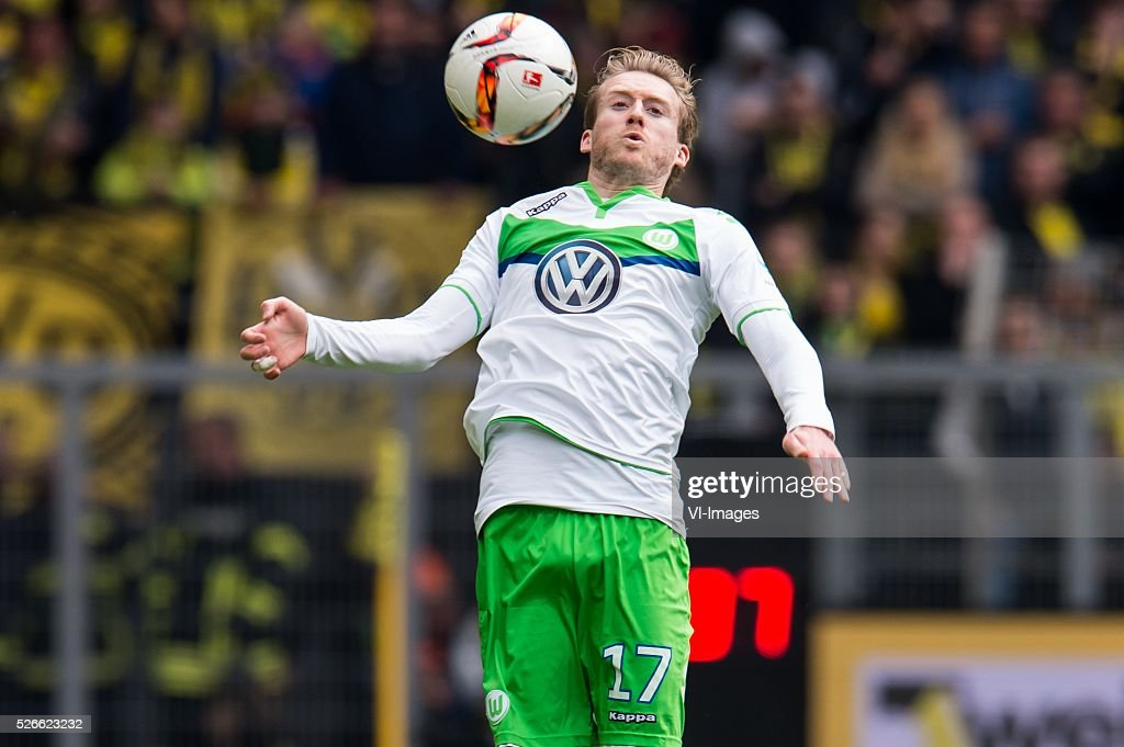 Andr�� Sch��rrle of VFL Wolfsburg during the Bundesliga match between Borussia Dortmund and VfL Wolfsburg on April 30, 2016 at the Signal Idun Park stadium in Dortmund, Germany.