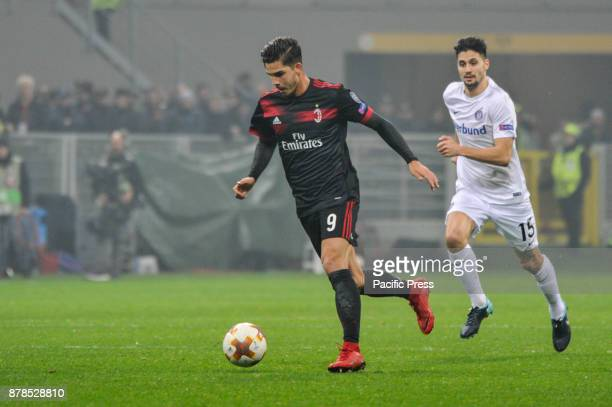 André Silva of AC milan during uefa Europa League AC Milan vs FK Austria Wien at San Siro Stadium AC Milan wins 51 over FK Austria Wien