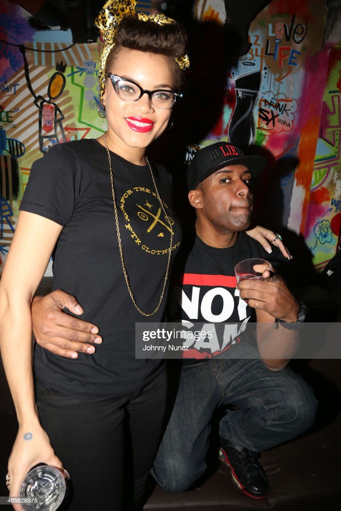 Andra Day and DJ Whoo Kid attend Jordin Sparks & Jason Derulo Welcome to New York Red, White and Black Super Bowl Party at WIP on January 29, 2014 in New York City.