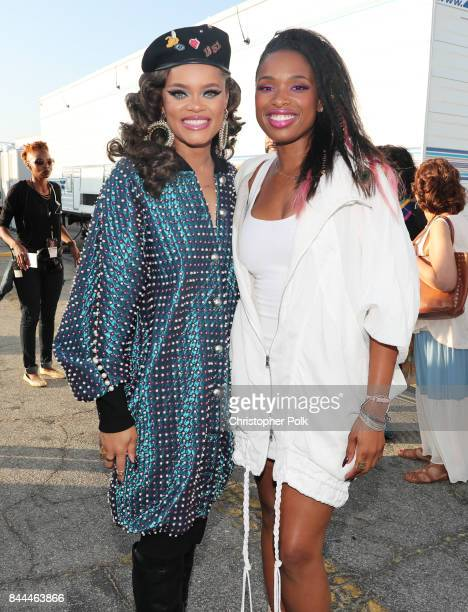 Andra Day and Jennifer Hudson pose during the XQ Super School Live presented by EIF at Barker Hangar on September 8 2017 in Santa California