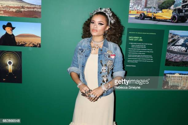 Andra Day attends the Sean Penn Friends Haiti Takes Root Benefit Dinner and Auction Supporting J/P Haitian Relief Organization at Sotheby's on May 5...