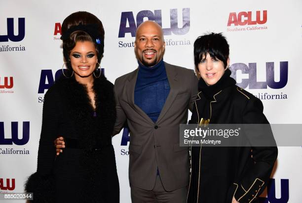 Andra Day Common and Diane Warren attend ACLU SoCal Hosts Annual Bill of Rights Dinner at the Beverly Wilshire Four Seasons Hotel on December 3 2017...