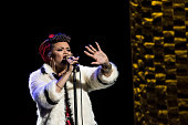 Andra Day performs at a fundraiser for Democratic presidential candidate Hillary Clinton at Radio City Music Hall on March 2 2016 in New York City...