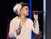 Andra Day performs on the second day of the 2016 Democratic National Convention at Wells Fargo Center on July 26 2016 in Philadelphia Pennsylvania An...