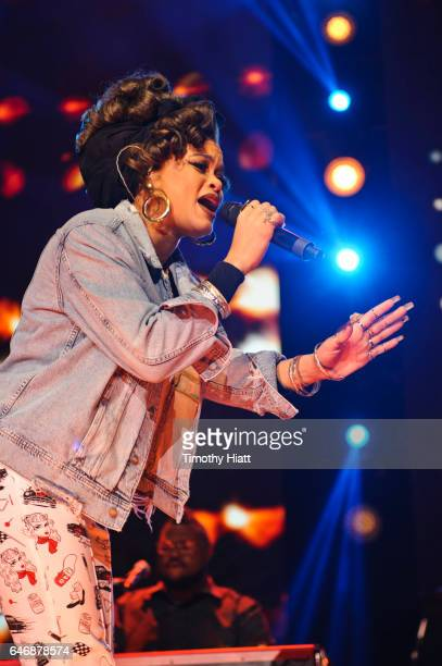 Andra Day performs on WE Day Illinois 2017 at Allstate Arena on March 1 2017 in Rosemont Illinois