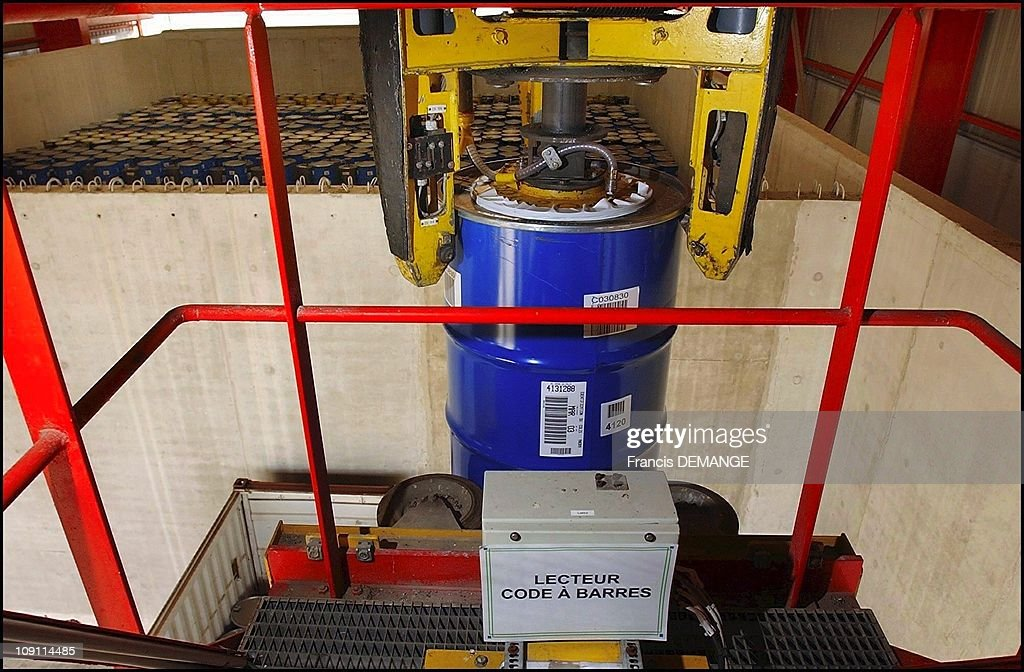 Andra France'S National Agency For The Management Of Radioactive Waste On October 18Th 2003 Reading The Bar Code On A Package Containing Radioactive...