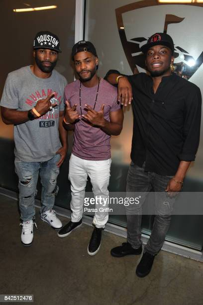 Andra Fuller Andrew Bachelor aka 'King Bach' and Woody McClain at LudaDay Weekend Topgolf Takeover at Topgolf Midtown on September 3 2017 in Atlanta...