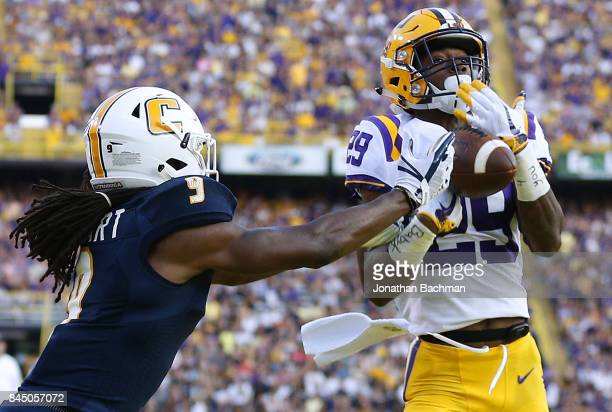Andraez Williams of the LSU Tigers breaks up a pass against Alphonso Stewart of the Chattanooga Mocs during the first half of a game at Tiger Stadium...