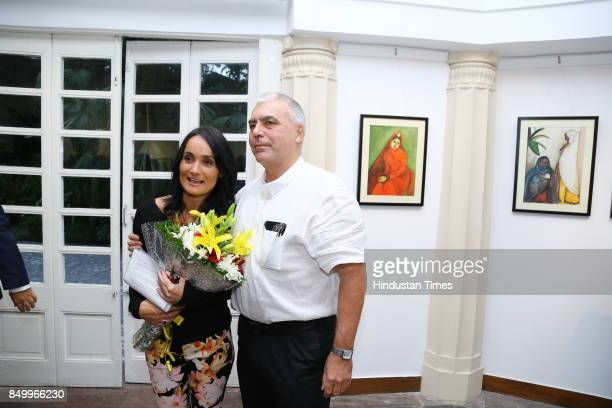 Andras Halasz and Ildiko MorovszkiHalasz during an exhibition to celebrate the legacy of iconic artist Amrita SherGil and works by Hungarian artist...