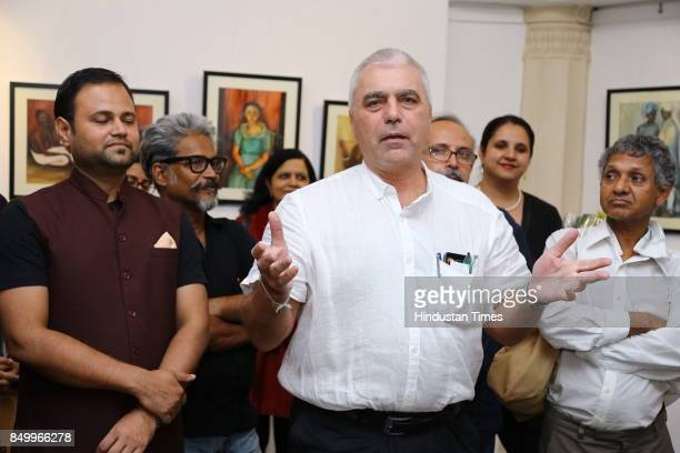 Andras Halasz during an exhibition to celebrate the legacy of iconic artist Amrita SherGil and works by Hungarian artist Ildiko MorovszkiHalasz put...