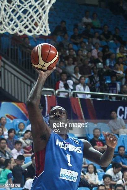 Andray Blatche of Philippines shots during the 2015 FIBA Asia Championship Second Round between Philippines and Japan at Changsha Social Work...