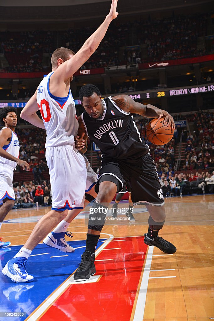 Andray Blatche #0 of the Brooklyn Nets dribbles the ball against the Philadelphia 76ers during the game at the Wells Fargo Center on January 8, 2013 in Philadelphia, Pennsylvania.