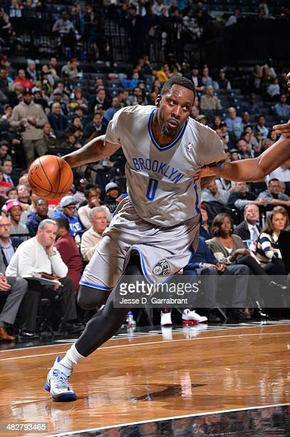 Andray Blatche of the Brooklyn Nets drives to the basket against the Detroit Pistons on April 4 2014 at the Barclays Center in Brooklyn New York NOTE...