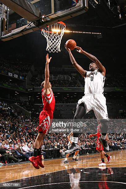 Andray Blatche of the Brooklyn Nets drives to the basket during the game against the Houston Rockets at the Barclays Center on April 01 2014 in the...