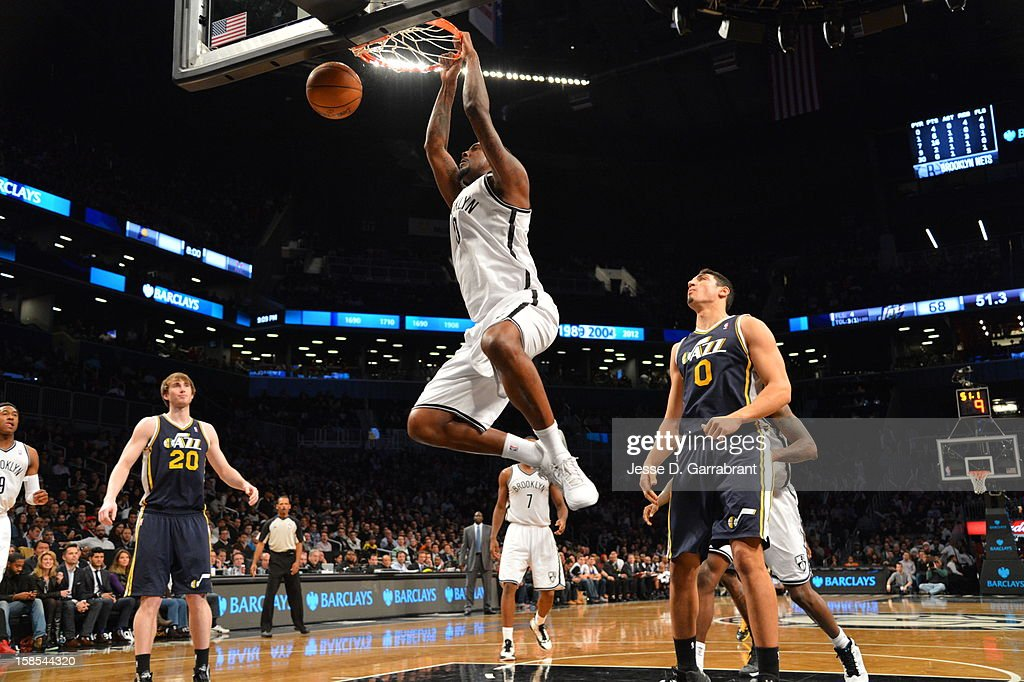<a gi-track='captionPersonalityLinkClicked' href=/galleries/search?phrase=Andray+Blatche&family=editorial&specificpeople=4282797 ng-click='$event.stopPropagation()'>Andray Blatche</a> #0 of the Brooklyn Nets dunks against the Utah Jazz during the game at the Barclays Center on December 18, 2012 in Brooklyn, New York.