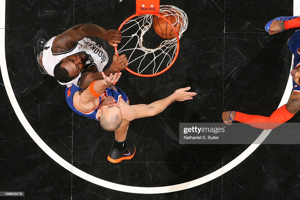 Andray Blatche #0 of the Brooklyn Nets dunks the ball against the New York Knicks on December 11, 2012 at the Barclays Center in the Brooklyn borough of New York City.