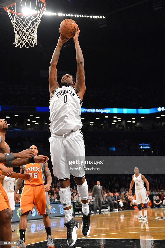 Andray Blatche #0 of the Brooklyn Nets dunks the ball against the Phoenix Suns at the Barclays Center on January 11, 2013 in Brooklyn, New York.