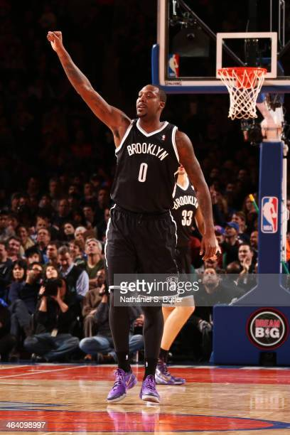 Andray Blatche of the Brooklyn Nets during a game against the New York Knicks at Madison Square Garden in New York City on January 20 2014 NOTE TO...