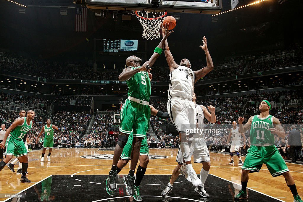 Andray Blatche #0 of the Brooklyn Nets goes to the basket against Kevin Garnett #5 of the Boston Celtics on November 15, 2012 at the Barclays Center in the Brooklyn Borough of New York City.