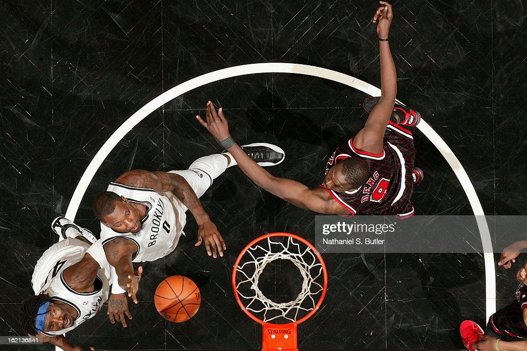 Andray Blatche #0 of the Brooklyn Nets goes up for a rebound against the Chicago Bulls on February 1, 2013 at the Barclays Center in the Brooklyn borough of New York City.