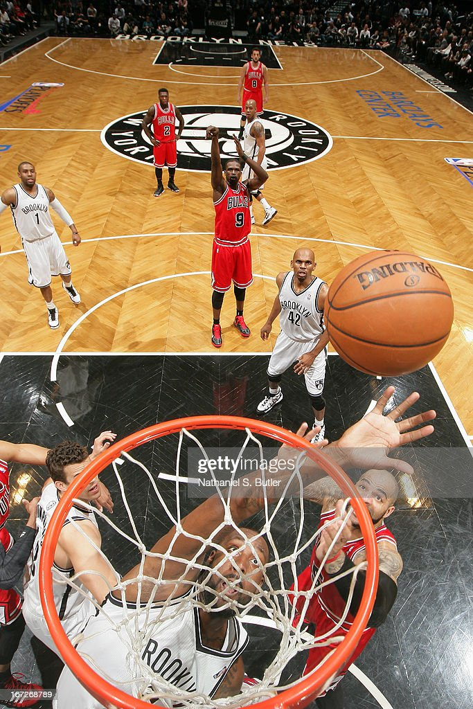 <a gi-track='captionPersonalityLinkClicked' href=/galleries/search?phrase=Andray+Blatche&family=editorial&specificpeople=4282797 ng-click='$event.stopPropagation()'>Andray Blatche</a> #0 of the Brooklyn Nets grabs the rebound against the Chicago Bulls in Game Two of the Eastern Conference Quarterfinals during the 2013 NBA Playoffs on April 22 at the Barclays Center in the Brooklyn borough of New York City.