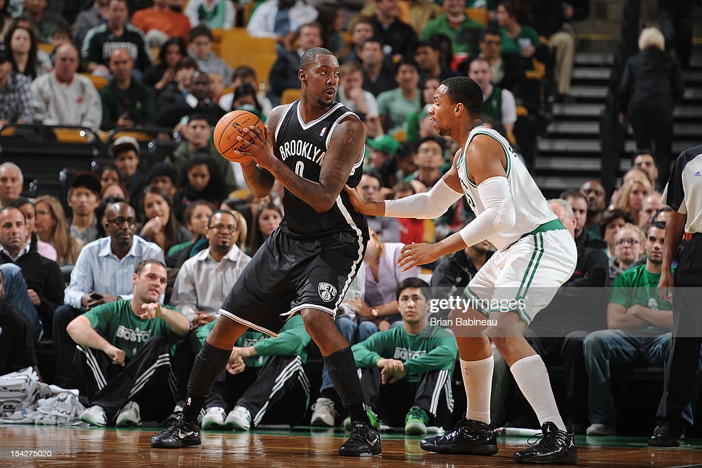 <a gi-track='captionPersonalityLinkClicked' href=/galleries/search?phrase=Andray+Blatche&family=editorial&specificpeople=4282797 ng-click='$event.stopPropagation()'>Andray Blatche</a> #0 of the Brooklyn Nets handles the ball against the Boston Celtics on October 16, 2012 at the TD Garden in Boston, Massachusetts.