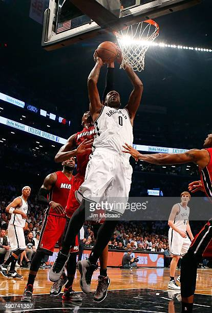 Andray Blatche of the Brooklyn Nets in action against the Miami Heat in Game Four of the Eastern Conference Semifinals during the 2014 NBA Playoffs...