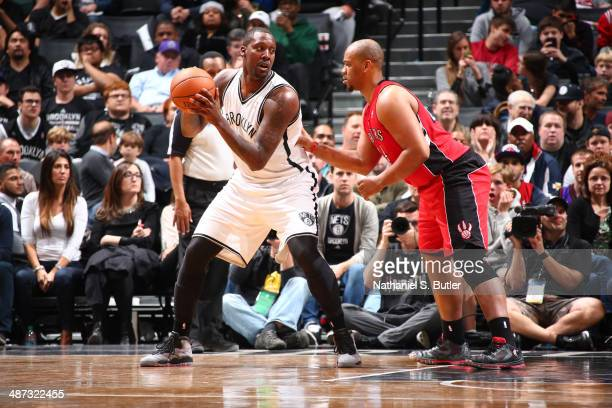 Andray Blatche of the Brooklyn Nets looks to drive to the basket against the Toronto Raptors during Game Four of the Eastern Conference Quarterfinals...