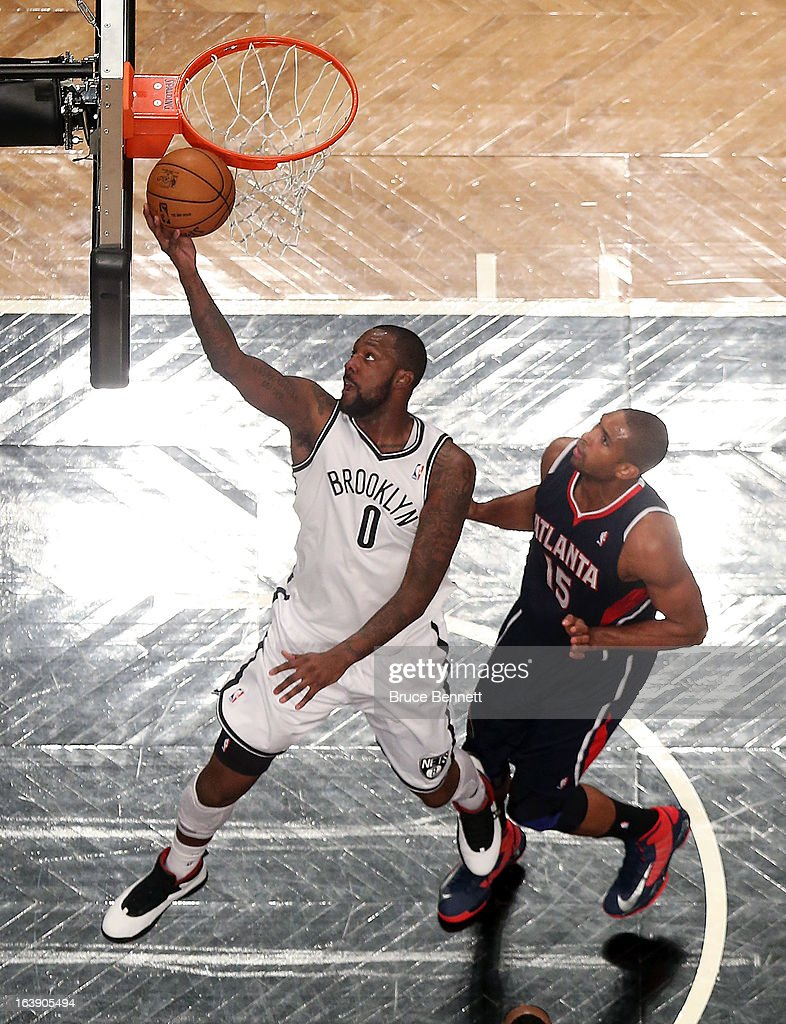 Andray Blatche #0 of the Brooklyn Nets scores two in the first half against the Atlanta Hawks at the Barclays Center on March 17, 2013 in New York City. The Hawks defeated the Nets 105-93.