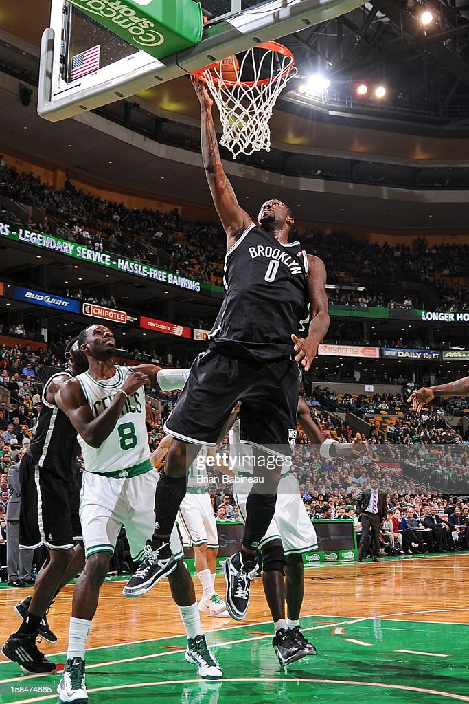 Andray Blatche #0 of the Brooklyn Nets shoots against the Boston Celtics on November 28, 2012 at the TD Garden in Boston, Massachusetts.