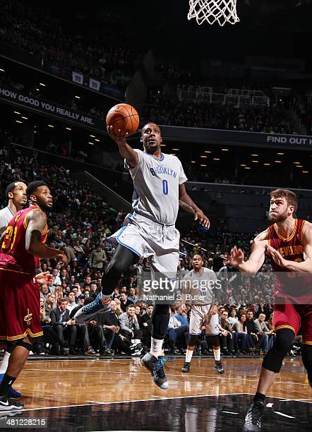 Andray Blatche of the Brooklyn Nets shoots against the Cleveland Cavaliers at the Barclays Center on March 28 2014 in the Brooklyn borough of New...