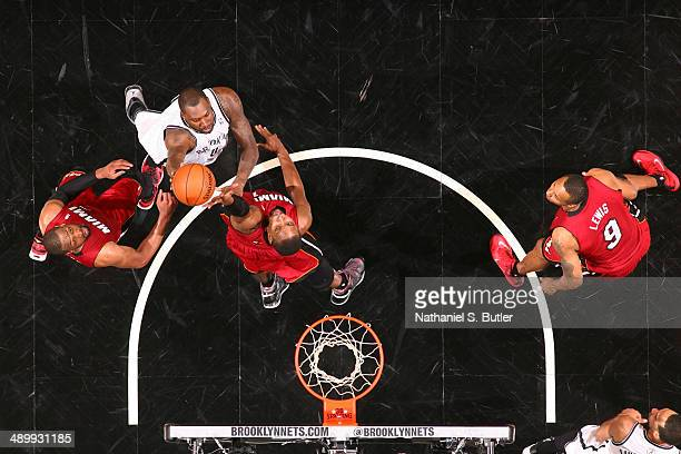 Andray Blatche of the Brooklyn Nets shoots against the Miami Heat in Game Four of the Eastern Conference Semifinals during the 2014 NBA Playoffs on...