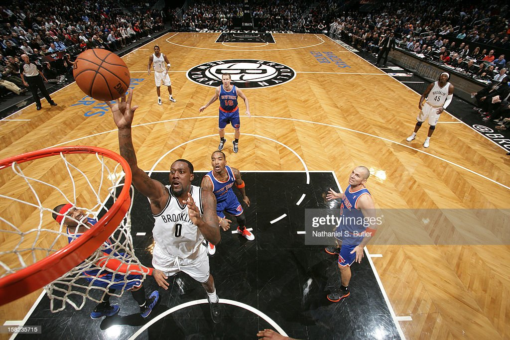Andray Blatche #0 of the Brooklyn Nets shoots against the New York Knicks on December 11, 2012 at the Barclays Center in the Brooklyn borough of New York City.