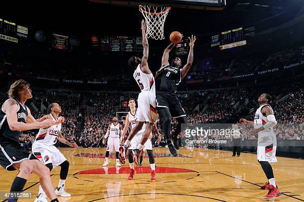Andray Blatche of the Brooklyn Nets shoots against the Portland Trail Blazers on February 26 2014 at the Moda Center Arena in Portland Oregon NOTE TO...
