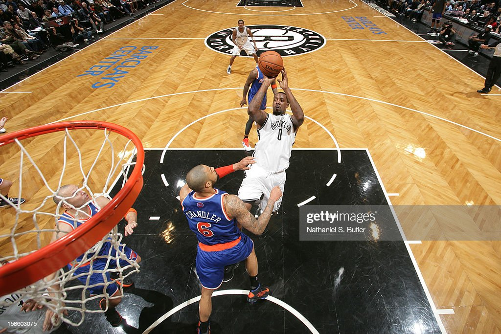 Andray Blatche #0 of the Brooklyn Nets shoots the ball against the New York Knicks on December 11, 2012 at the Barclays Center in the Brooklyn borough of New York City.