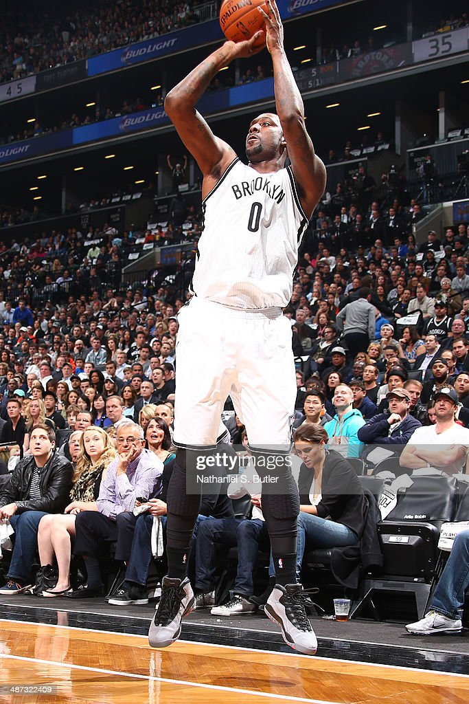 <a gi-track='captionPersonalityLinkClicked' href=/galleries/search?phrase=Andray+Blatche&family=editorial&specificpeople=4282797 ng-click='$event.stopPropagation()'>Andray Blatche</a> #0 of the Brooklyn Nets shoots the ball against the Toronto Raptors during Game Four of the Eastern Conference Quarterfinals at Barclays Center in Brooklyn.