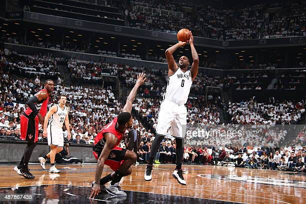 Andray Blatche of the Brooklyn Nets shoots the ball against the Toronto Raptors during Game Six of the Eastern Conference Quarterfinals at Barclays...
