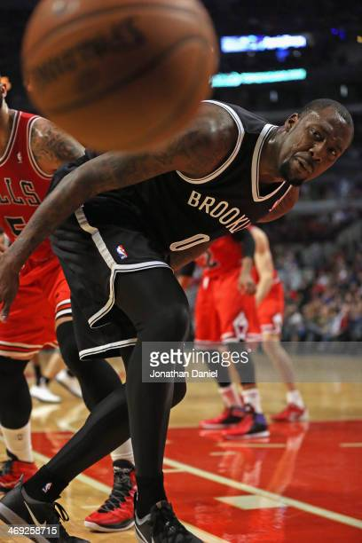 Andray Blatche of the Brooklyn Nets watches as the ball goes out of bound against the Chicago Bulls at the United Center on February 13 2014 in...