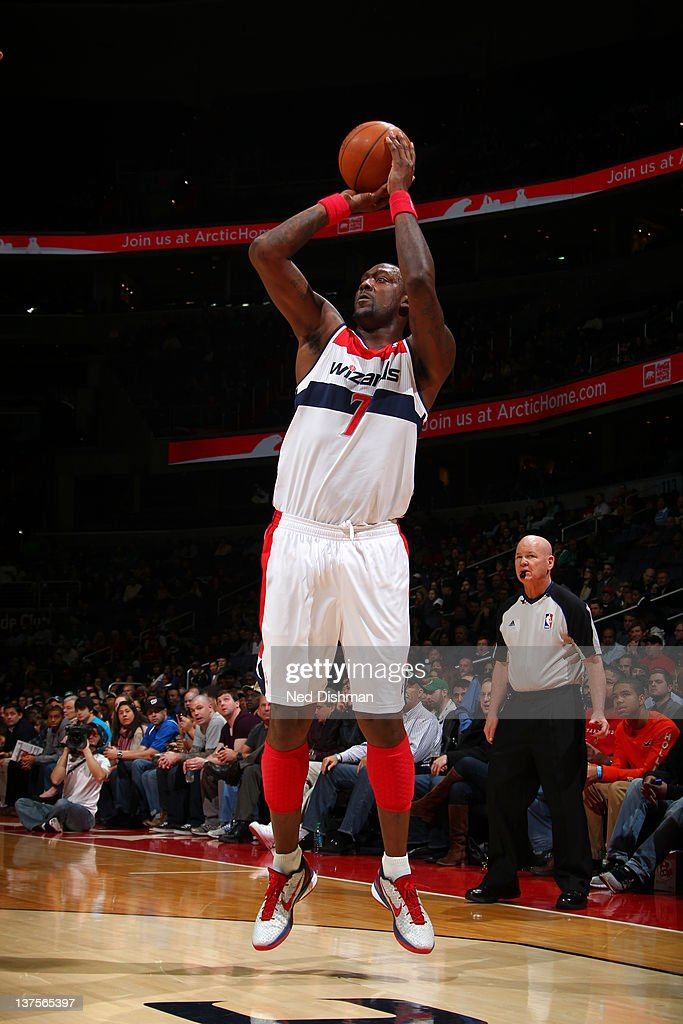 <a gi-track='captionPersonalityLinkClicked' href=/galleries/search?phrase=Andray+Blatche&family=editorial&specificpeople=4282797 ng-click='$event.stopPropagation()'>Andray Blatche</a> #7 of the Washington Wizards goes for a jump shot during the game between the Washington Wizards and the Boston Celtics at the Verizon Center on January 22, 2012 in Washington, DC.
