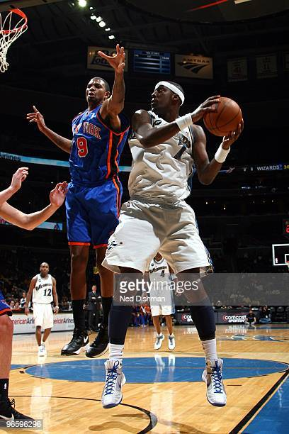 Andray Blatche of the Washington Wizards makes a move against Jonathan Bender of the New York Knicks during the game at the Verizon Center on January...