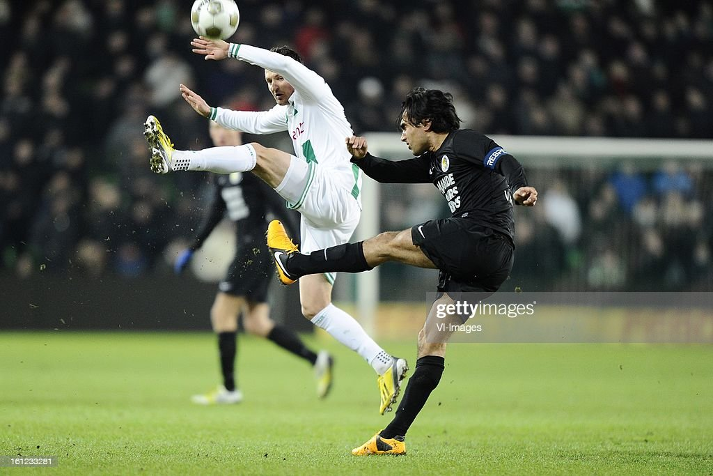Andraz Kirm of FC Groningen, Ard van Peppen of RKC Waalwijk, during the Dutch Eredivisie match between FC Groningen and RKC Waalwijk at the Euroborg on february 9, 2013 in Groningen, The Netherlands