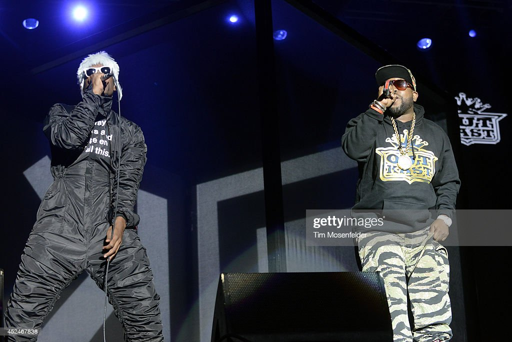Andre 3000 (L) and Big Boi of Outkast perform during the Pemberton Music and Arts Festival on July 20, 2014 in Pemberton, British Columbia.
