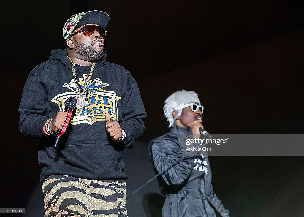 <a gi-track='captionPersonalityLinkClicked' href=/galleries/search?phrase=Andre+3000&family=editorial&specificpeople=220195 ng-click='$event.stopPropagation()'>Andre 3000</a> and <a gi-track='captionPersonalityLinkClicked' href=/galleries/search?phrase=Big+Boi&family=editorial&specificpeople=202898 ng-click='$event.stopPropagation()'>Big Boi</a> of OutKast perform on stage during Day 3 of Pemberton Music and Arts Festival on July 20, 2014 in Pemberton, Canada.